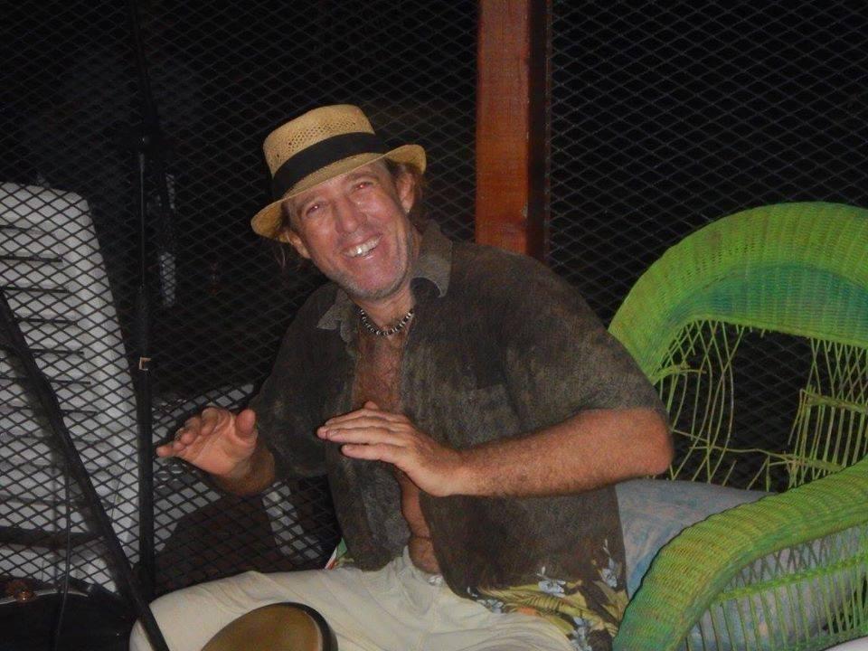 Andy Crawford playing his bongos