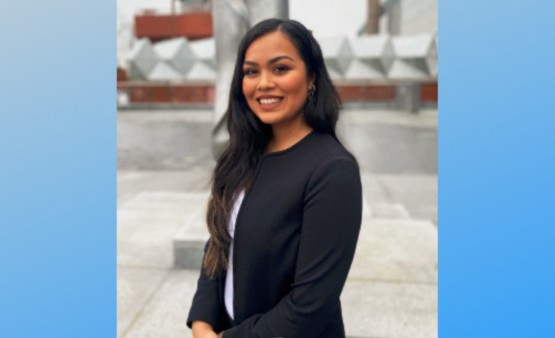 Alanis Ortiz Espinoza at the University of Leicester campus, after her team placed first in the Centennial Mooting Competition, 2020. Photo taken: February 28, 2020.