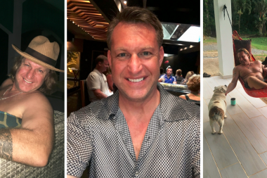 On the left is Clint Bleeler with a hat on. In the middle Clint is dressed u. On the right side is a picture of Clint in a hammock with his dogs.