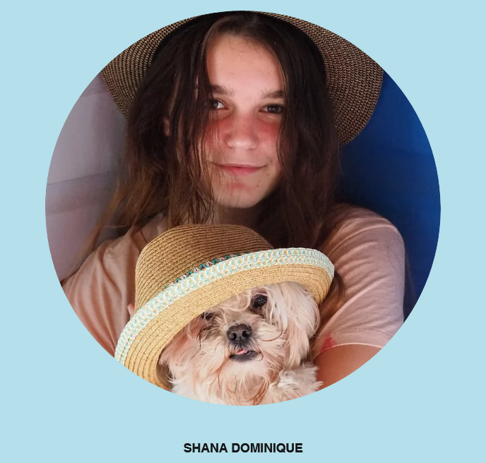 a photo of Shana Dominique and her dog. both are wearing hats.