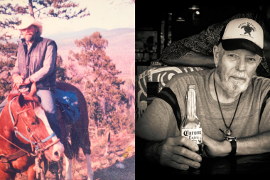 Left is a photo of young Time Sullivan on horse and on the right is older Tim Sullivan enjoying a beer.