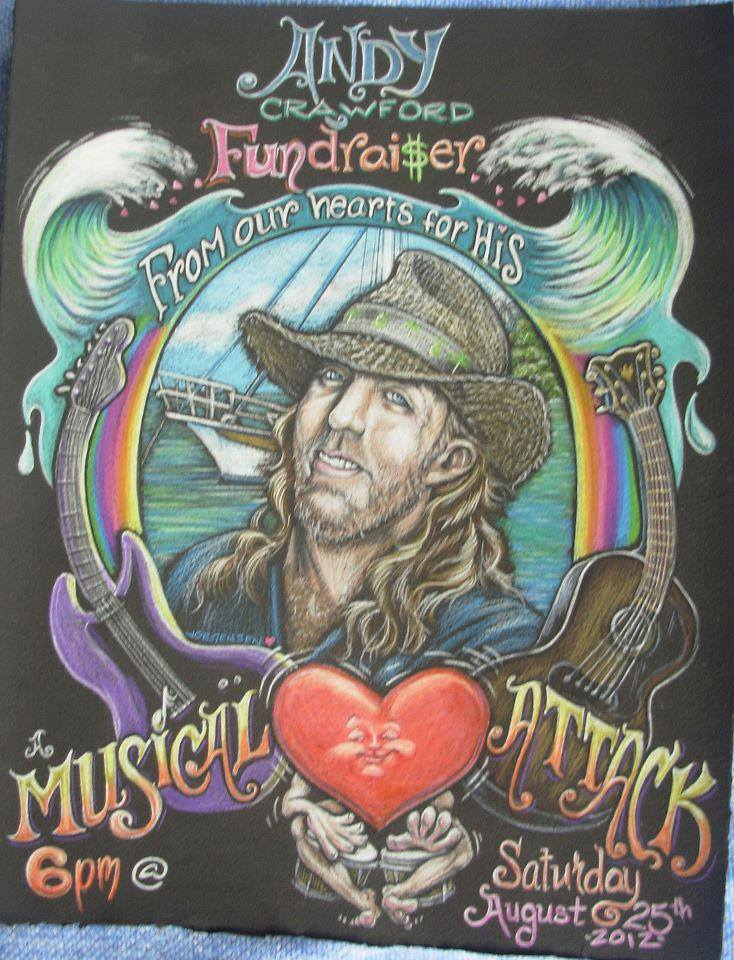 A fundraising poster for Andy Crawford, to help with medical costs for his heart surgery in 2012