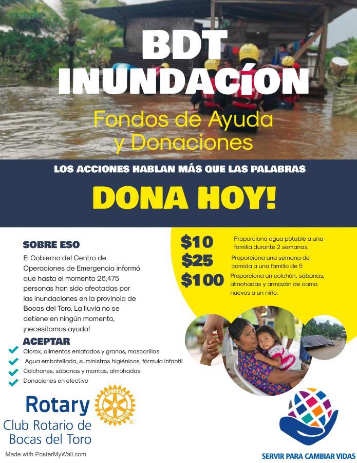 una volante recaundando fondos para las inundaciones en Bocas del Toro