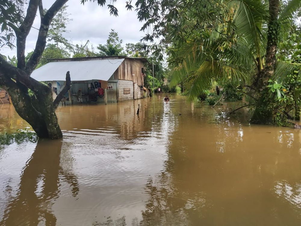 Natural disaster strikes Bocas del Toro. A servely flooded home in Changuinola