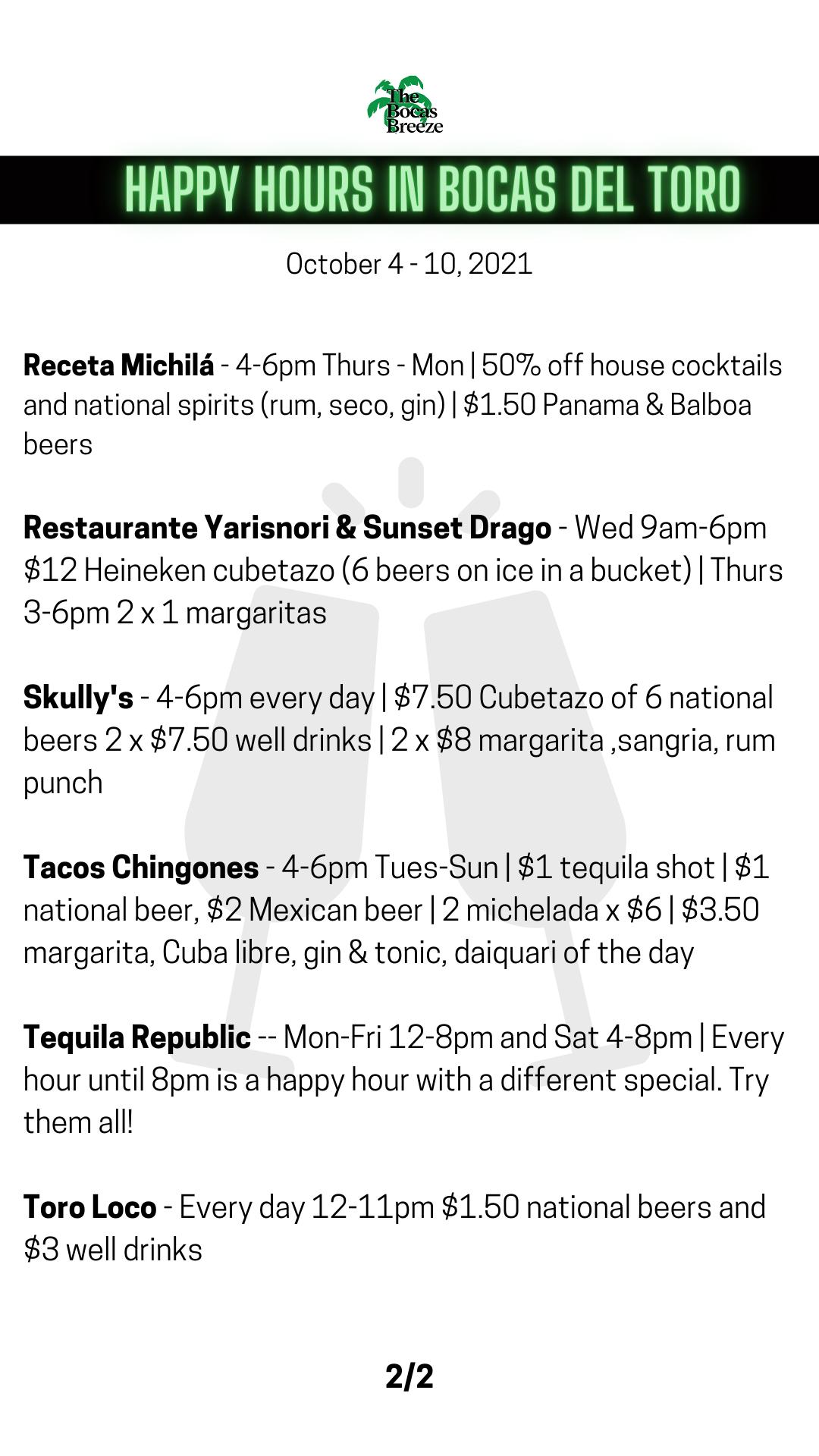 list of happy hours in bocas del toro