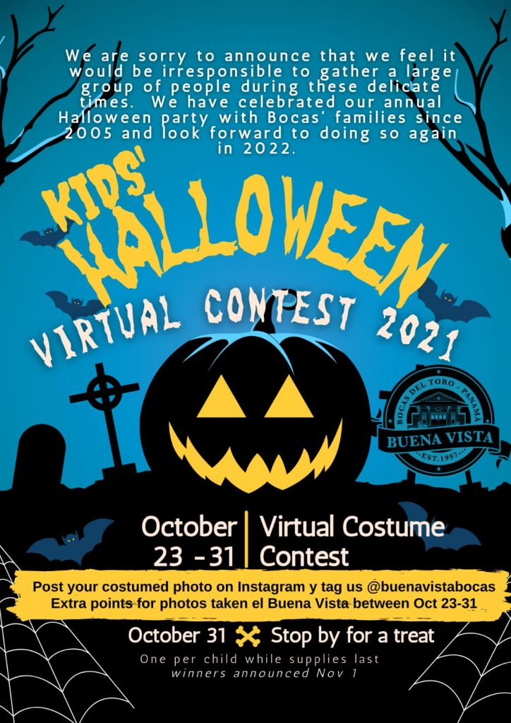 a flyer for a virutal halloween contest run by Buena Vista