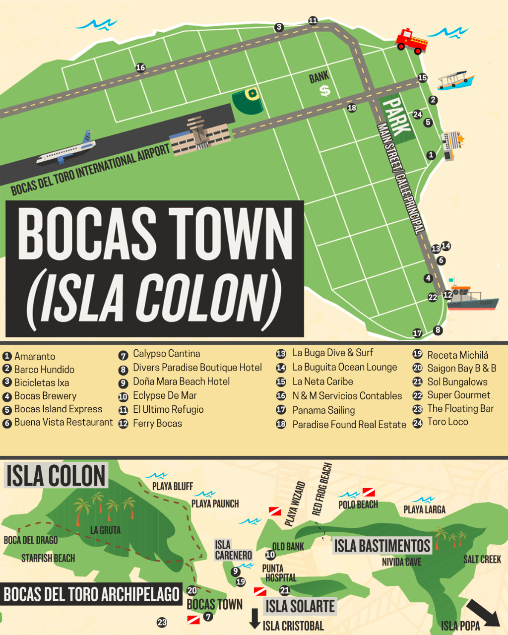 map of Bocas del Toro with featured businesses