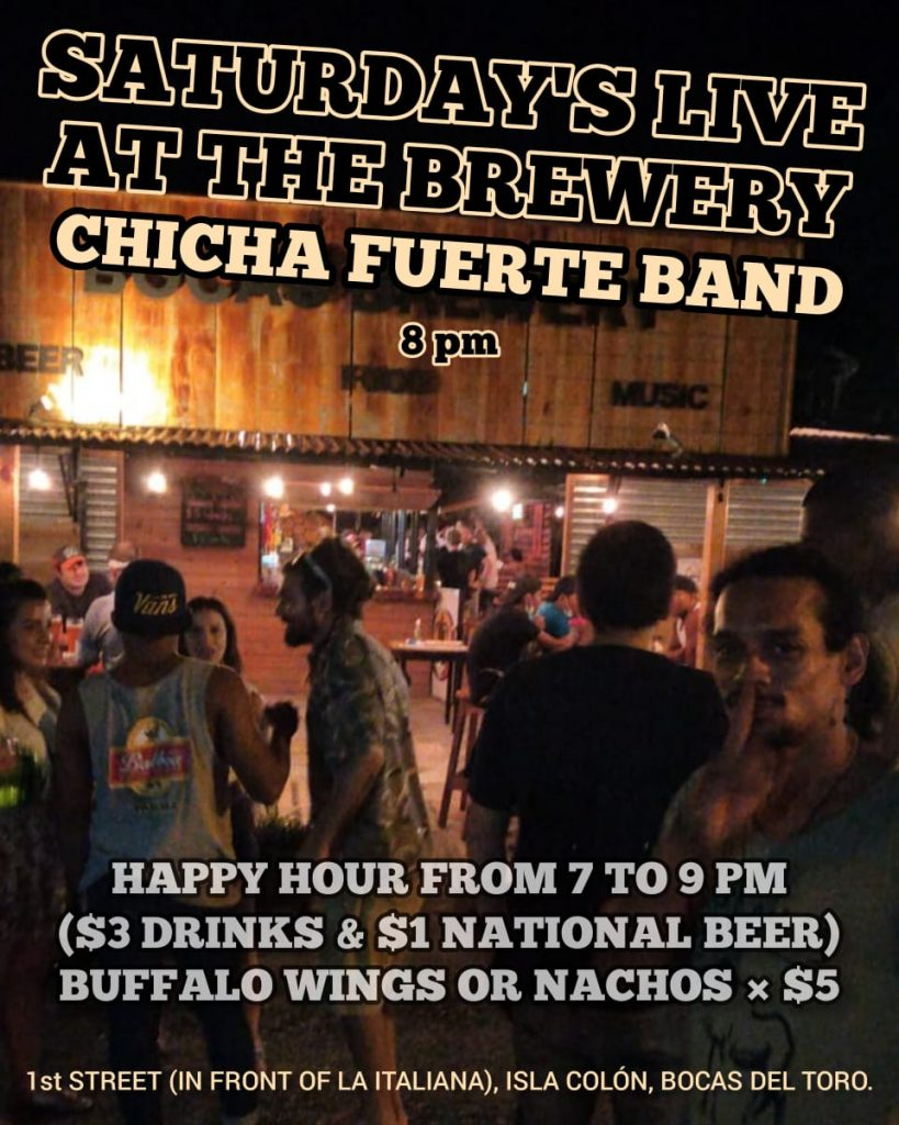 chicha fuerte bocas brewery saturday night people standing in the street in front of the bar