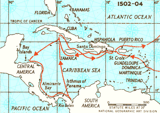 map of Christopher Columbus' 4th and final voyage